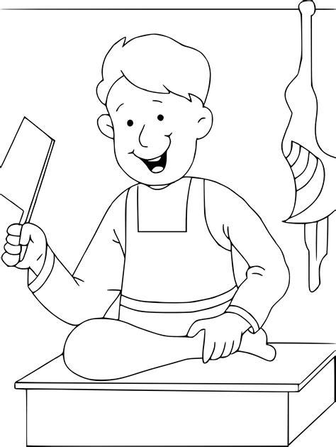 jeux de cuisine coloriage boucher à imprimer