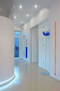 Recessed lighting in hallways : Ceiling recessed lights and led strip over the
