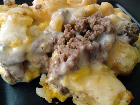This ground beef dish is loaded with sliced mushrooms, real bacon bits and swiss cheese. Ramblings by Alexis: White Trash Casserole