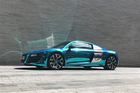 audi r8 wrapped audi r8 v10 wrapped in chrome by cfx london