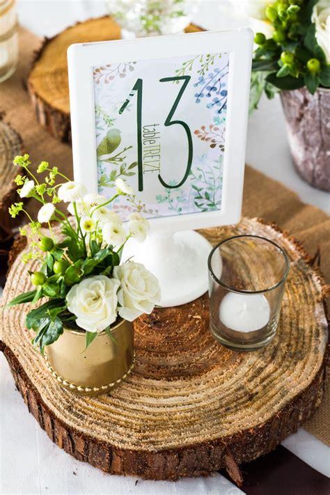 numero de table mariage theme nature bois vert