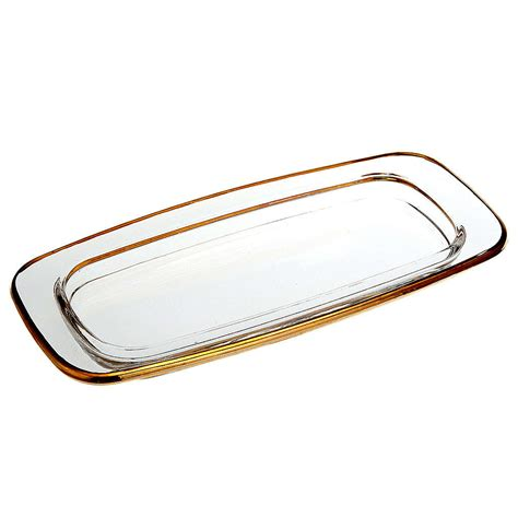 olive cruet ceramic rectangular glass cruet tray 20x9 5 cm with golden edge