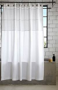 white shower curtain More Modern Shower Curtain Finds for a Stylish Powder Room