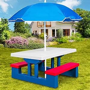 Salon De Jardin Pour Enfant : ensemble jardin pour enfant table et bancs avec parasol ~ Dailycaller-alerts.com Idées de Décoration