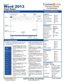 Microsoft Word 2013 Cheat Sheet