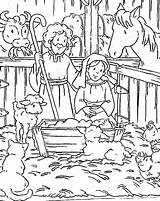 Jesus Coloring Manger Nativity Play sketch template
