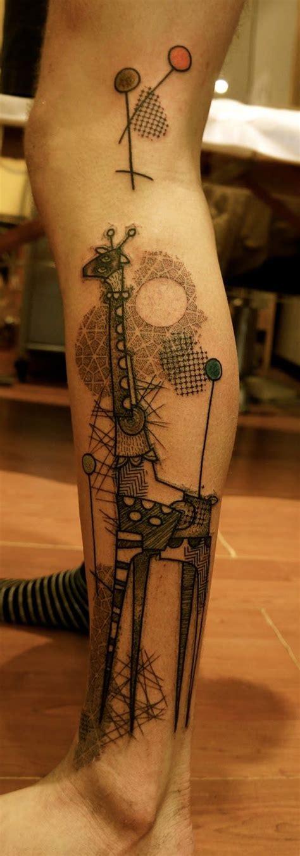 black  white giraffee tattoojpg