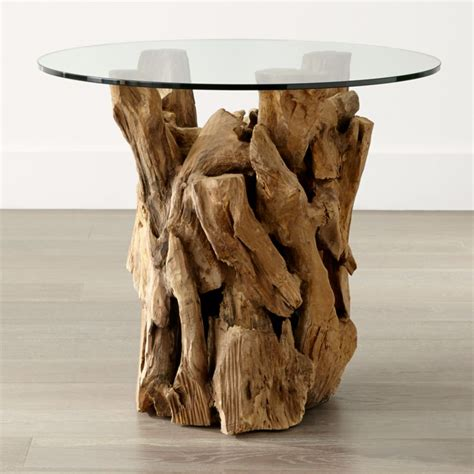 driftwood  table   glass top reviews crate