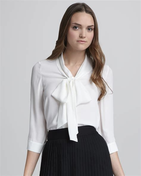 tie neck blouses lyst tie neck blouse in white