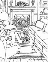 Coloring Living Pages Perspective Drawing Point Adult Adults Colouring Rooms Line Drawings Sketch Bedroom Interior Getdrawings Printable Ausmalen Books Kaynak sketch template