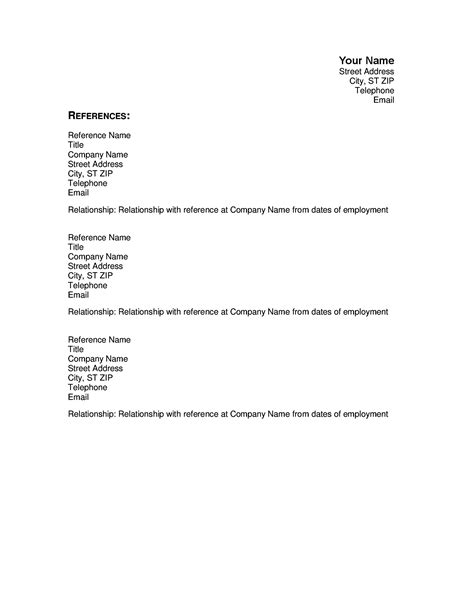 Resume References Template by Resumes And Cover Letters Office