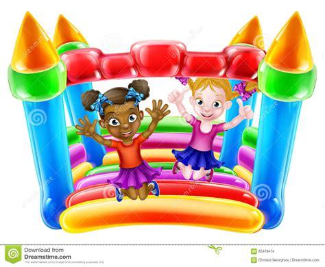 cartoon kids  bouncy castle vector illustration cartoondealercom