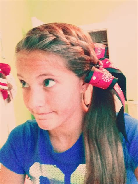 french braid all the way down into a ponytail add a bow