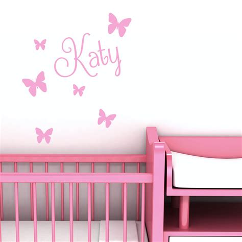 bedroom wall stickers personalised name butterfly wall art custom girls bedroom 10749   s l1000