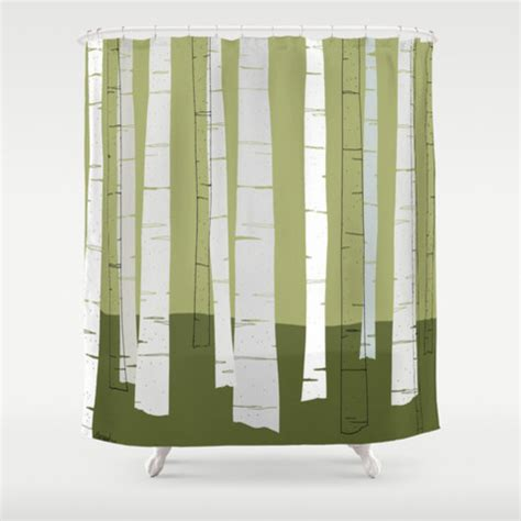 birch and moss green white shower curtain contemporary