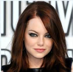 Emma Stone Auburn Highlight   Dark Brown Hairs