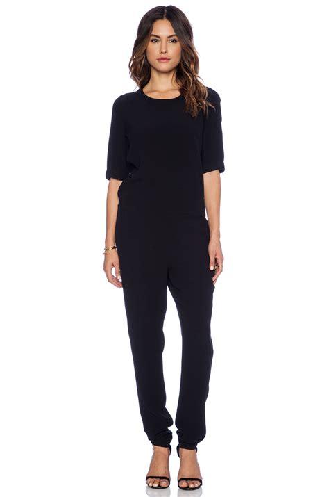 retro jumpsuit vintage holiester 3 4 sleeve jumpsuit in black lyst
