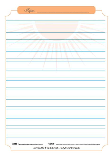 blank handwriting worksheet  lined  cursive writing practice suryascursivecom