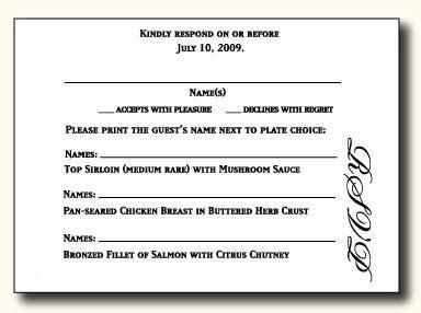 types  wedding rsvp card wording paperblog rsvp