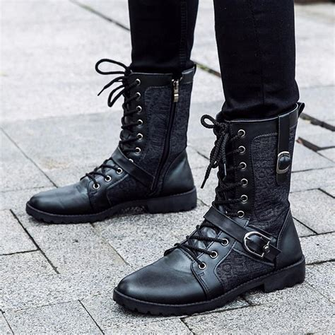 high top motorcycle boots tangnest autumn punk martin boots men fashion pu leather