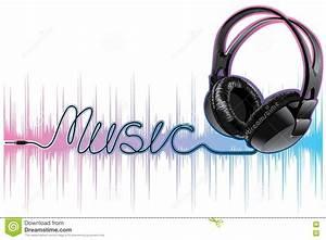Neon Pulsing Music Headphones Stock Vector