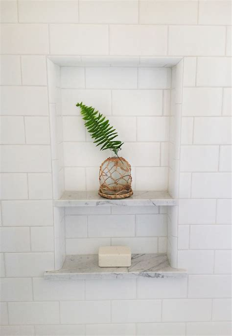 shower niche white subway  marble shelves final