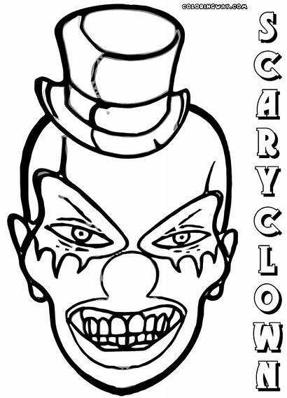 Clown Scary Coloring Pages Coloringway Colorings