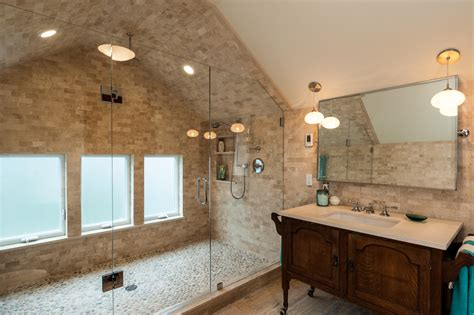 travertine subway tile bathroom traditional with frosted