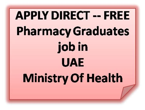 Pharmacy Vacancy by Pharmjobs Org Pharmacy Graduates Vacancy In Uae Ministry