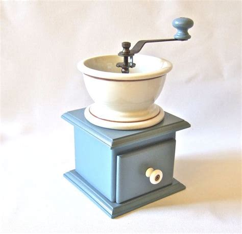 Coffee millthe wooden mill is fitted into an octagonal brass cylinder which has panels chased vertically with alternate designs. Old Fashioned Manual Coffee Grinder Slate Blue Porcelain Vintage Kitchen | Vintage coffee ...