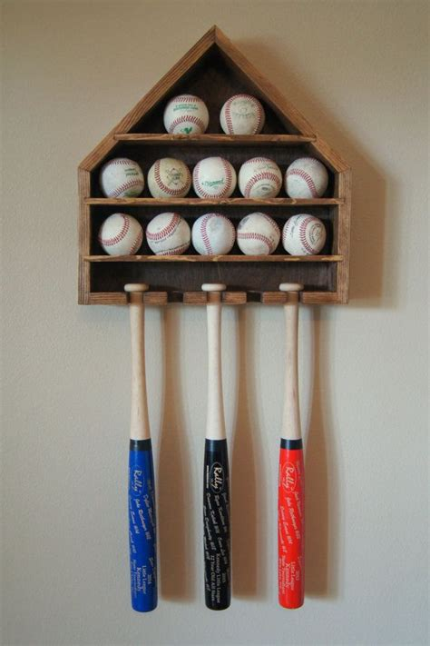 baseball shelf display ball  mini bat wall hanging