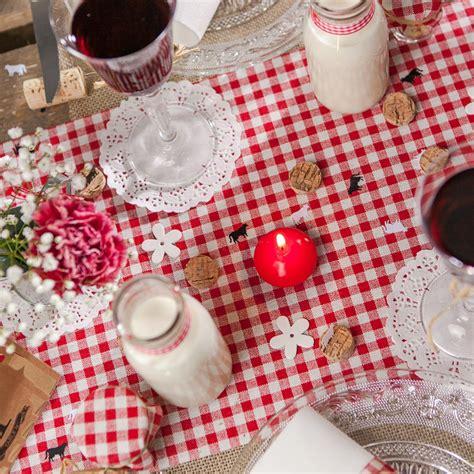 chemin de table vichy en tissu blanc maplusbelledeco