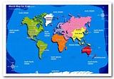 World Map For Kids Maps Framed Art Giclee Art Print
