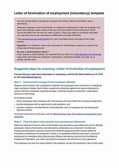 Letter Termination Template Redundancy Employment Examples Employee