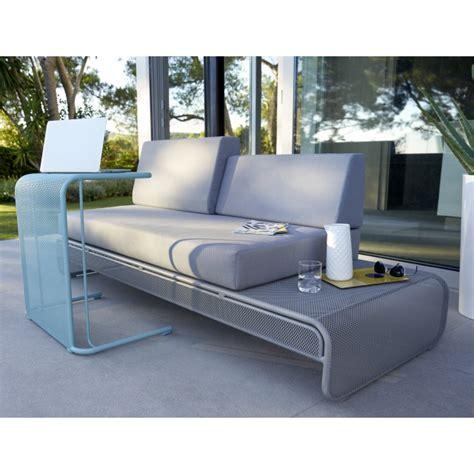 sofa en m 233 tal chiva gris avec coussins salon de jardin