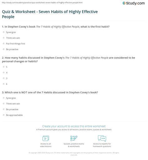 Quiz & Worksheet - Seven Habits of Highly Effective People ...
