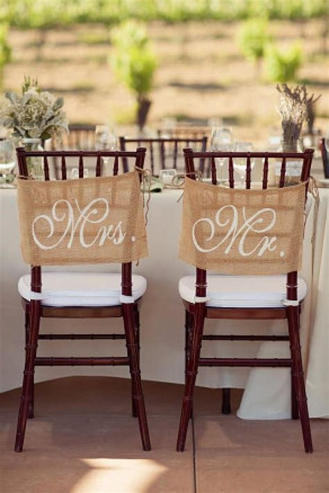 burlap wedding chair signs mr and mrs chair signs