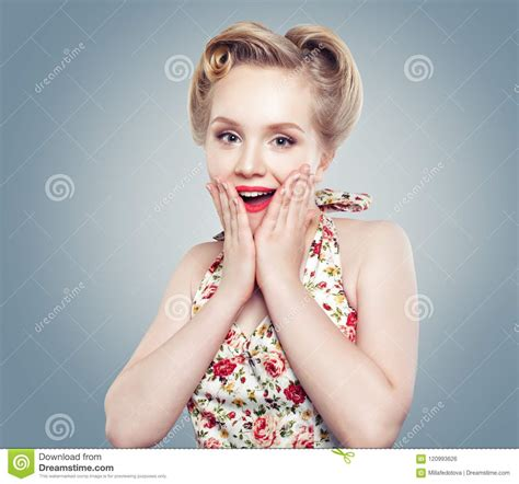 Beautiful Surprised Woman Cute Smile Perfect Makeup And