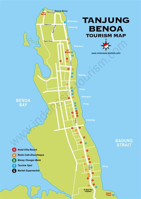 tanjung benoa bali map bali island indonesia tourism maps