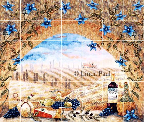 Italian tile murals   Tuscany Backsplash tiles