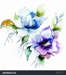 Beautiful Blue Flower, Watercolor Painting Imagen de ...