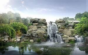 Japan, Digital, Waterfall, Wallpapers