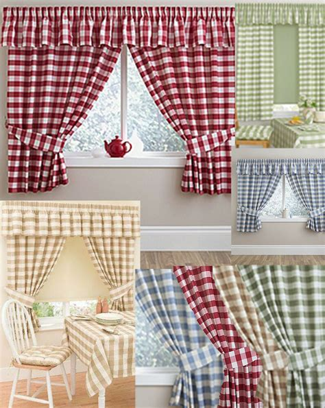 gingham checked kitchen curtains matching pelmet