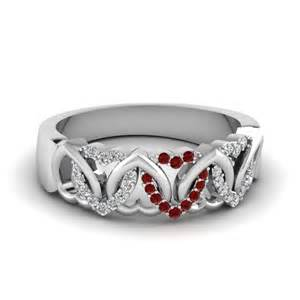 ruby wedding band interweaved wedding band white with ruby in 14k white gold fascinating diamonds
