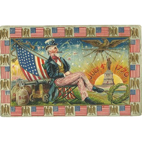 Uncle Sam Patriotic Fourth Of July Vintage Postcard