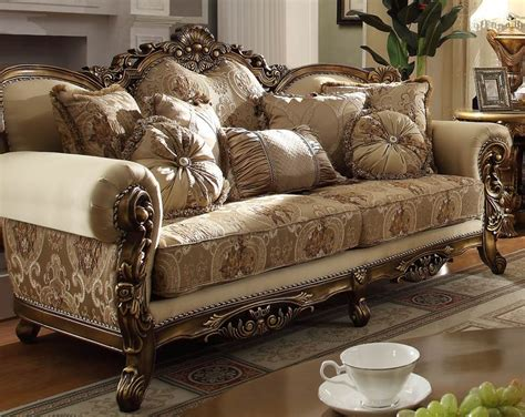 Golden Victorian Formal Living Room Set
