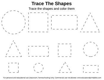 tracing shapes worksheet  janets educational