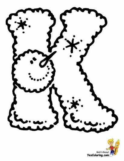 Christmas Letters Coloring Pages Snowman Alphabet Letter