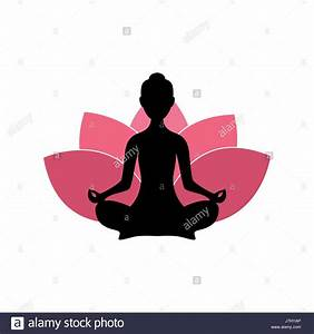 Yoga Woman Silhouette, Pink Lotus Flower Logo Design ...