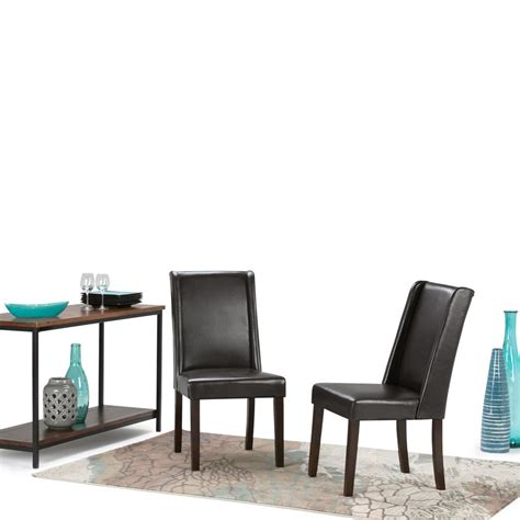 simpli home sotheby tanners brown faux leather dining